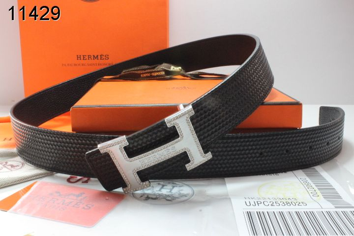 Black Mens Belt Hermes with Silver H Buckle Affordable